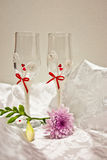Lovers glasses. A couple of glasses for lovers royalty free stock photos