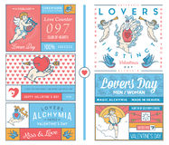Lovers Greeting Cards colored Royalty Free Stock Photos