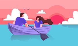Lovers Guy with Girl Boating on Sea Cartoon Flat. Spend Time Together Riding Boat. Horizontal Vector Illustration on Colored Background. Pleasant and Fondness stock illustration