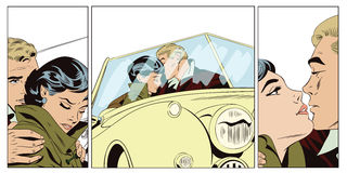 Lovers guy and girl in a retro car. Royalty Free Stock Photography
