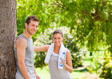 Lovers after the gym. Cute lovers after the gym stock photography