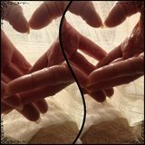 Lovers hands in hearts moments stock image