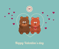 Lovers and happy bears with hearts Stock Photo