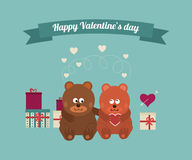 Lovers and happy bears with hearts Royalty Free Stock Photos