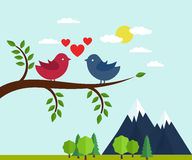 Lovers and happy birds on tree with hearts Stock Image