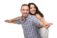 Lovers having fun together. They are happy Royalty Free Stock Photos
