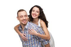 Lovers having fun together. They are happy Royalty Free Stock Image