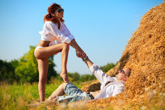 Lovers on hayloft Royalty Free Stock Photo