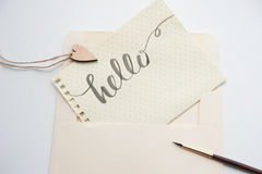 Lovers heart pattern and words hello for greating card Stock Image