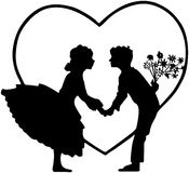 Lovers In Heart Silhouette Royalty Free Stock Photography