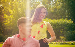 Lovers with hearts outdoor Stock Photography