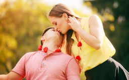 Lovers with hearts outdoor Royalty Free Stock Photo
