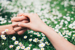 Lovers holding hands on spring flowers field Royalty Free Stock Photography