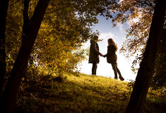 Lovers holding hands walking Royalty Free Stock Photo