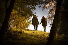 Lovers holding hands walking  Royalty Free Stock Images
