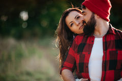 Lovers hugging in nature Stock Photo