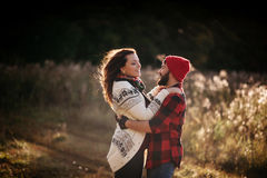 Lovers hugging in nature Royalty Free Stock Photos