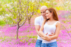 Lovers hugging outdoors Stock Images