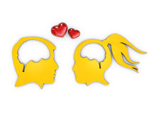 Lovers human heads with brain, 3d Illustration  White Royalty Free Stock Photography