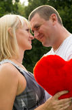 Lovers, husband and wife shows tender feelings Stock Photography
