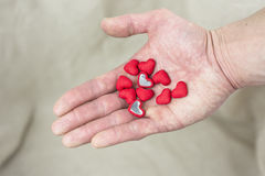 Lovers. I beg the heart and hand Royalty Free Stock Photography