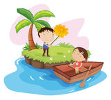 Lovers on an island. Illustration of couple on an island Stock Image
