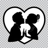 Lovers kiss on background of big heart. Silhouettes on transparent background for Valentines Day. Silhouettes of man and woman merge into kiss for Valentines Royalty Free Stock Images