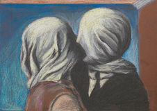 Lovers kiss, pastel drawing reproduction. Pastel reproduction after the famous painting Lovers kiss by Magritte Royalty Free Stock Photo