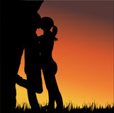 Lovers kissing Stock Photo