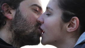 Lovers kissing Stock Photography