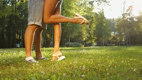 Lovers kissing in the park. Passionate kiss. Lovers kissing in the park. Young and beautiful legs. Feet of lovers. Legs of guy and a girl stock video