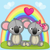 Lovers Koalas. Valentine card with Lovers Koalas Royalty Free Stock Image