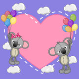 Lovers Koalas. Valentine card with Lovers Koalas flying on balloons Royalty Free Stock Images