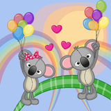 Lovers Koalas. Valentine card with Lovers Koalas flying on balloons Stock Photography