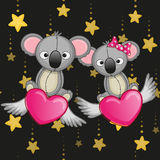 Lovers Koalas. Valentine card with Lovers Koalas on the flying hearts Royalty Free Stock Photo