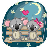 Lovers Koalas. Valentine card with Lovers Koalas on the swing Royalty Free Stock Images