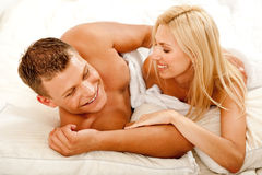 Lovers laughing Royalty Free Stock Image