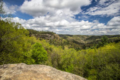 Lovers Leap In Kentucky. View of mountain top known as Lovers Leap as seen from the Natural Bridge in Natural Bridge State Park in Slade, Kentucky stock photos