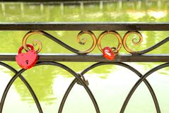Locks on the fence,. For lovers, locks on the fence Stock Photography