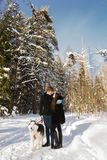 Lovers look at each other with Siberian husky dogs in the winter forest. Lovers look at each other with Siberian husky dogs in the winter sunny forest Stock Photography