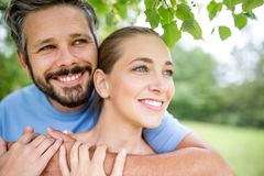Lovers in love as a couple. Lovers in love as a happy couple sharing a hug Royalty Free Stock Photo