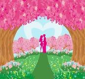 Lovers in the magical garden. Vector Illustration vector illustration