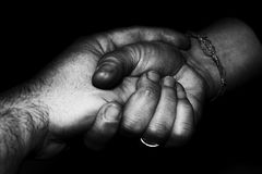 Lovers man and woman crossed hands Royalty Free Stock Photos