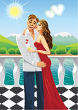 Lovers  man and woman kissing on the sea.Vector Royalty Free Stock Image