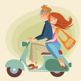 Lovers man and woman on retro bike going down the. Road. The way of dreams, love and friendship stock illustration