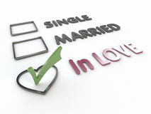 Lovers Marital Survey on White Background Stock Photo