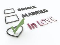 Lovers Marital Survey on White Background. Three items survey with  marital status, green checkmark on heart option box Stock Photo