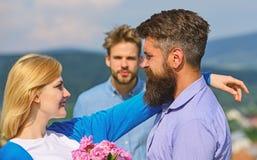 Lovers meeting outdoor flirt romance relations. Broken heart concept. Couple in love happy dating, jealous man watching. Lovers meeting outdoor flirt ce stock images