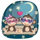 Lovers monkeys. Valentine card with Lovers monkeys Stock Photo