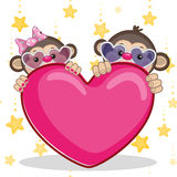 Lovers monkeys. Valentine card with Lovers monkeys Stock Photos